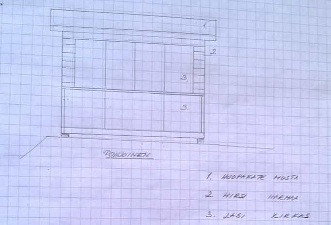 hand-built log home on paper