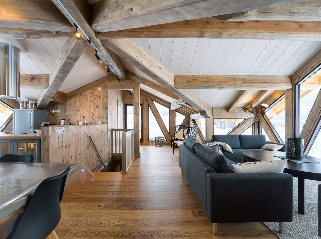 Building a log home.